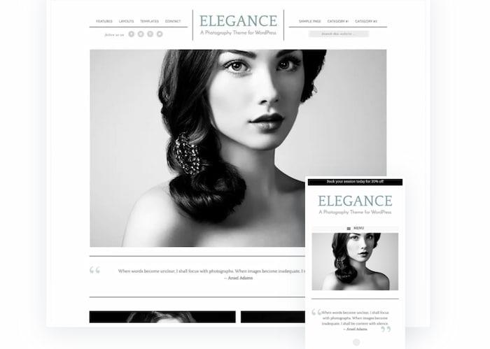 Elegance pro photography website example