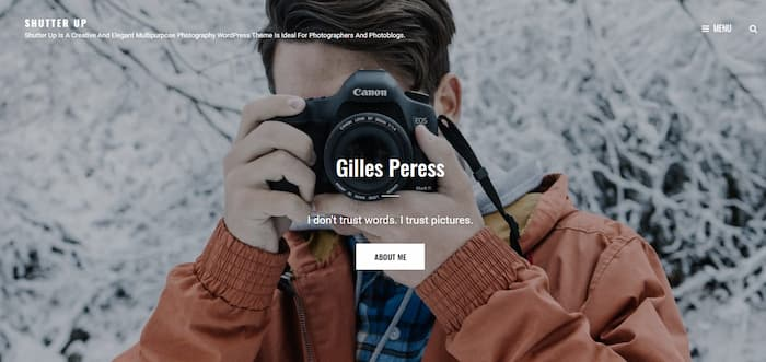 Shutter Up photography website example